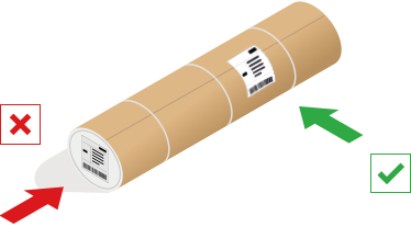Example of where to attach labels on cylindrical parcels