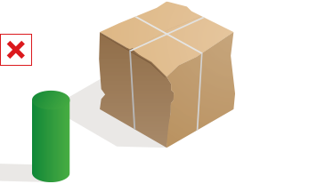 A partially crushed parcel