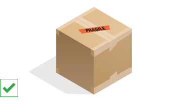 "Parcel with ""Fragile"" label"