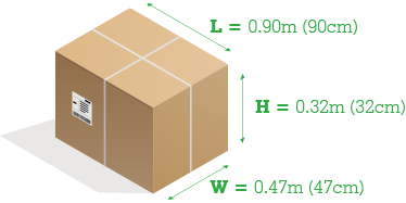Example parcel with lengths marked